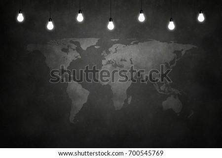 world maps on chalkboard empty room stock photo royalty free