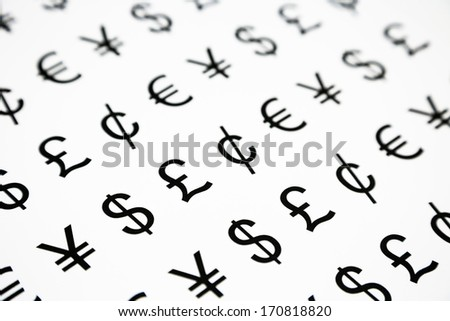 world money symbol pattern, yen, euro, pound, cent and dollar - stock photo