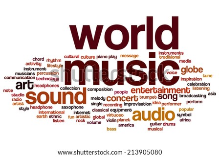 World music concept word cloud background - stock photo
