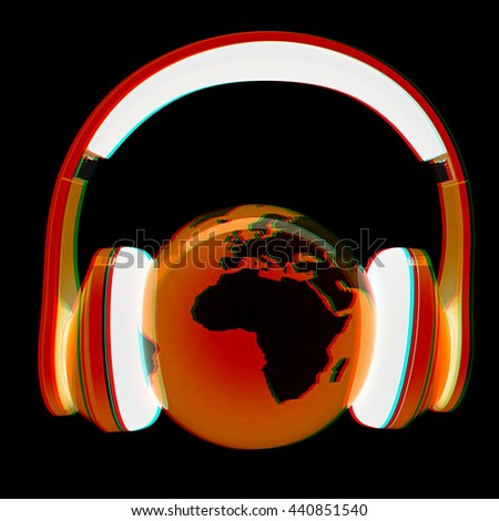 World music 3D render of planet Earth with headphones on a black background. 3D illustration. Anaglyph. View with red/cyan glasses to see in 3D. - stock photo