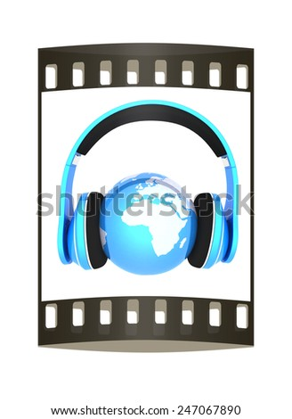 World music 3D render of planet Earth with headphones  on a white background - stock photo