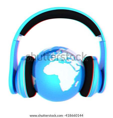World music 3D render of planet Earth with headphones  on a white background. 3D illustration. Anaglyph. View with red/cyan glasses to see in 3D. - stock photo