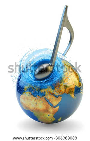 World music impact concept, musical note strike on earth globe isolated on white background (Elements of this image furnished by NASA) - stock photo