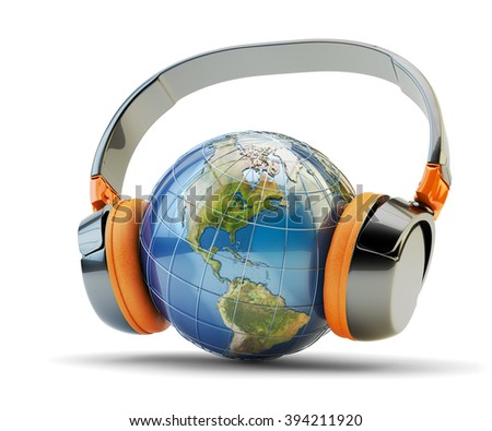 World music listening, online audio communication and internet broadcasting concept, planet Earth globe with modern black headphones isolated on white (Elements of this image furnished by NASA) - stock photo