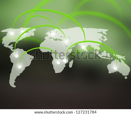 World Network Green Background - stock photo