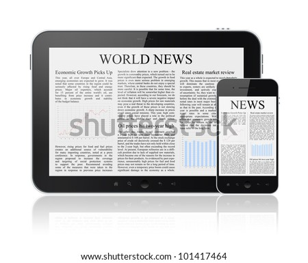 World news articles on modern digital tablet and mobile smart phone. Isolated on white. - stock photo