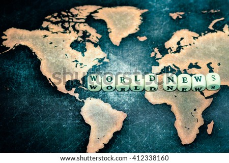 WORLD NEWS on grunge world map