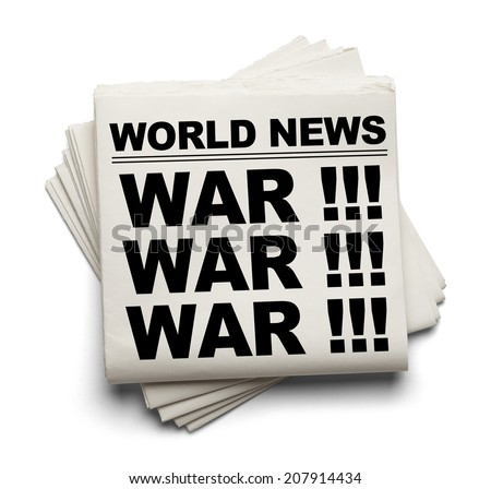 World News Paper Headline War Isolated on White Background.