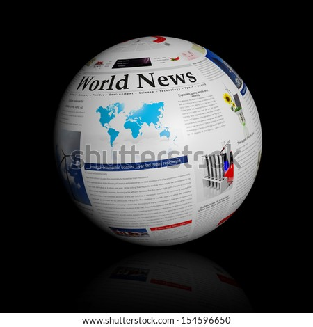 World news represented by a newspaper globe  - stock photo