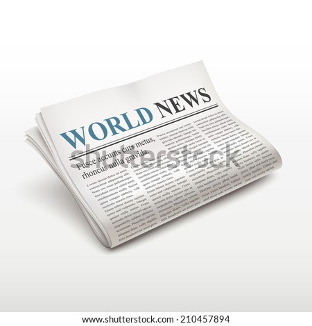 world news words on newspaper over white background - stock photo