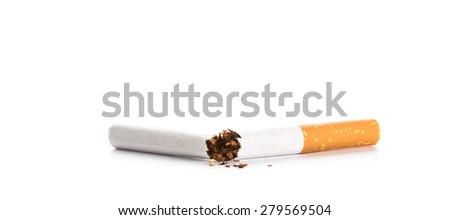 World No Tobacco Day : Broken cigarette isolated on white background - stock photo