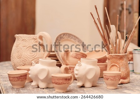 World of ceramic. Still life of different pottery pieces of art - stock photo