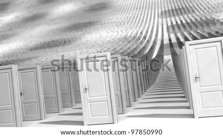 world of closed doors - stock photo