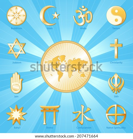 World Religions Planet Earth Flower World Stock Vector - World religion map judaism
