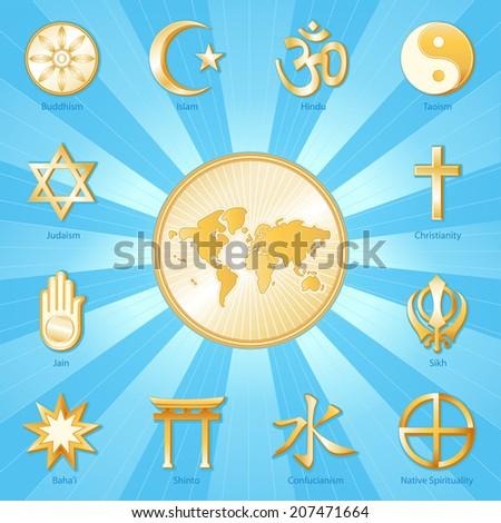 World of Faith. International Religions surround world map: Buddhism, Islam, Hindu, Taoism, Christianity, Sikh, Native Spirituality, Confucian, Shinto, Bahai, Jain, Judaism. Gold ray background.  - stock photo