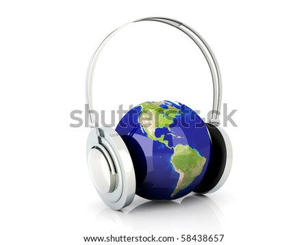 World of music. 3D rendered Illustration. Isolated on white. - stock photo