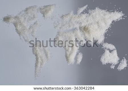 World of sugar map - stock photo