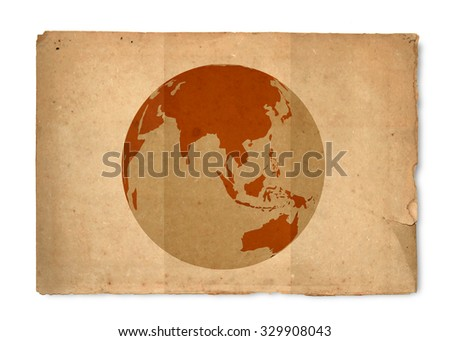 World on vintage paper texture