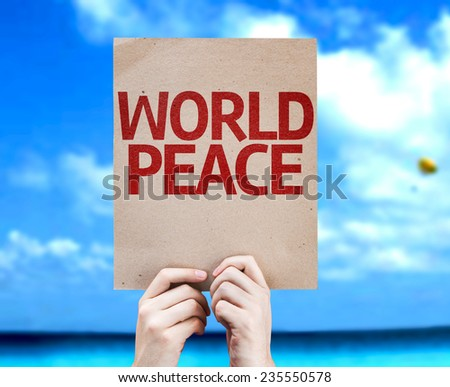 World Peace card with a beach on background - stock photo