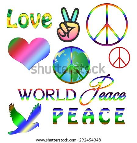 set pacific hippie symbol words pease stock vector