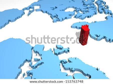 World planisphere Iceland - stock photo