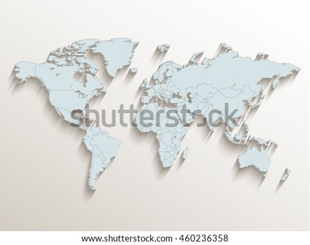 World political map white blue 3D raster - stock photo