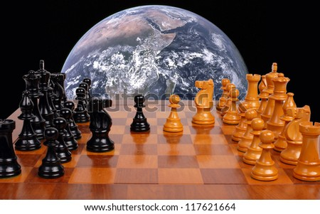 world politics chess board - stock photo