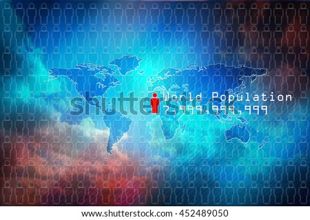 World population data. World map with people icon and symbolic numbers of world population. Colourfull background, concept world population map. - stock photo