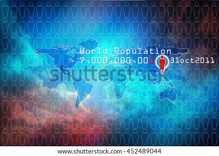 World population day7 billions, 31oct 2001. World map with people icon and symbolic date of world population. Blue background, concept world population map. - stock photo