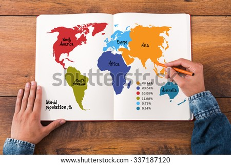 World population infographic set. Top view close-up image of man holding hands on his notebook with colorful map on it while sitting at the wooden desk - stock photo