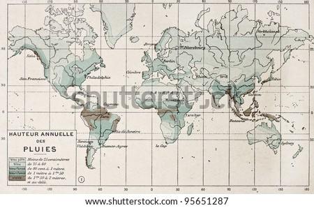 World rainfall map. By Paul Vidal de Lablache, Atlas Classique, Librerie Colin, Paris, 1894 - stock photo