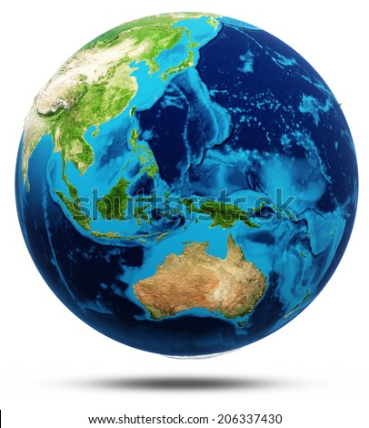 World real relief, modified maps, lighting and materials. Earth globe model, maps courtesy of NASA - stock photo