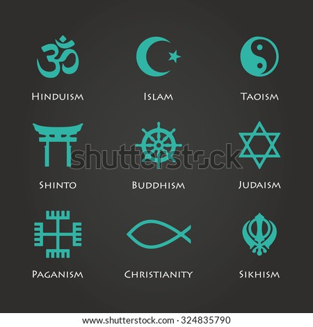 World Religion Symbols Cyan Color Set Stock Illustration 324835790