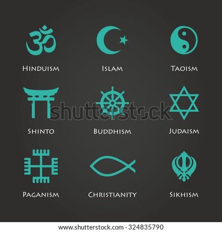 World religion symbols cyan color set with christian, Jewish, Islam etc illustration - stock photo