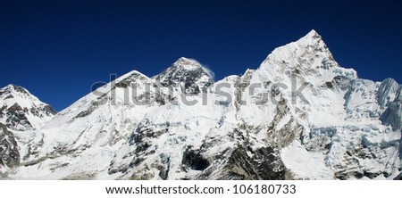 World's highest mountain, Mt Everest (8850m) and Nuptse to the right in the Himalaya, Nepal.