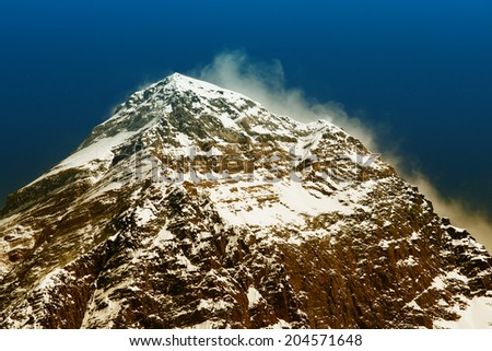 World's highest mountain, Mt Everest (8850m) in the Himalayas, Nepal.