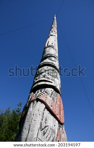 World's Tallest Totem Pole/Tallest totem pole carved from a single tree.  Found in village of Kake, Alaska