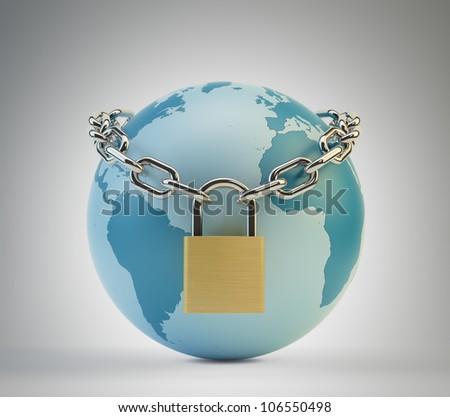 World security concept - Earth surrounded by a chain with a padlock - stock photo