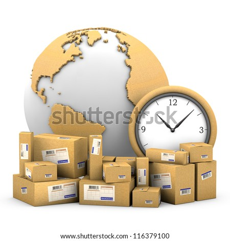 World shipments. Parcels, globe textured cardboard and clock on a white background with clipping path. - stock photo