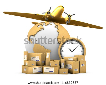 World shipments. Parcels, globe textured cardboard, watches and the airplane on a white background with clipping path.