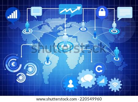 World Social Media Business Graphic - stock photo