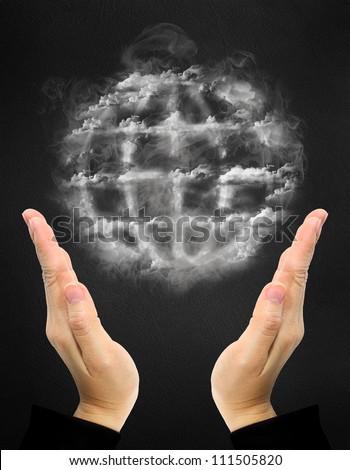 world symbol made of smoke over hand - stock photo