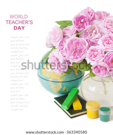 World Teacher's Day. Still life with roses flowers bunch with books and map isolated on white background with sample text - stock photo