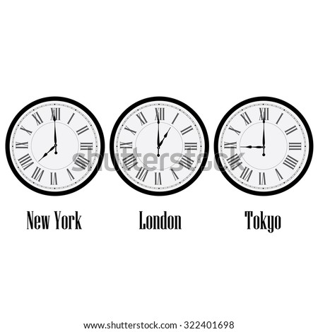 World time clocks New York, London and Tokyo. Clock on wall with roman numerals raster isolated - stock photo
