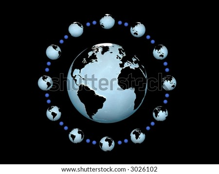 world time in globe watch - stock photo