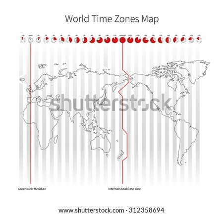 World Time Zones Map isolated on white - stock photo