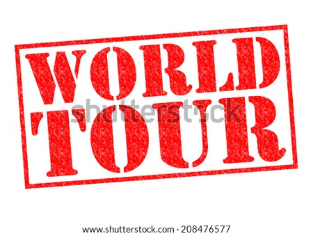 WORLD TOUR red Rubber Stamp over a white background.