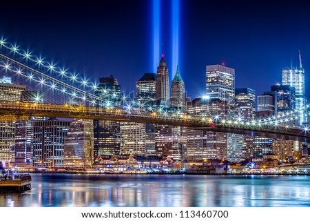 World Trade Center Lights over Manhattan - stock photo
