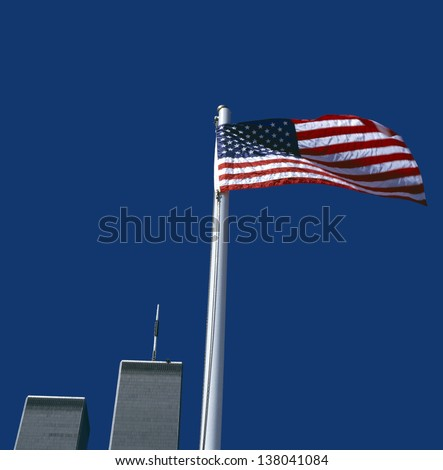 World Trade Center with American Flag,New York, USA - stock photo