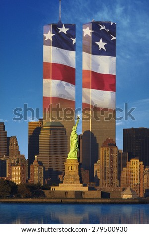 World Trade Center with American flag superimposed - stock photo